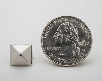 100 Medium Silver Pyramid Studs for Punk Vintage Clothing. StudsAndSpikes Denim and LeatherCraft