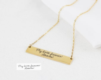 Signature Bar Necklace • Your Actual Handwriting Bar Necklace • Engraved Handwriting Jewelry • Personalized Gift • Mother Gift NM22