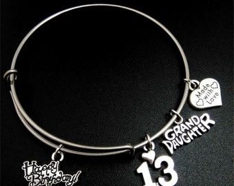 13th Birthday Bracelet, 13th birthday, bangle bracelet, Happy Birthday, Grand Daughter, Made with Love, Gift for granddaughter, bangle
