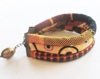 Tribal bracelet, textile cord bracelet, fabric bracelet, boho chic bracelet, bohemian jewelry, bohemian bracelet, funky jewelry, girl gift