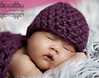 Newborn Baby Beanie Hat Plum Purple