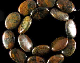 "25mm brown green opal flat oval beads 16"" strand 17436"