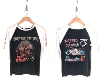 80s Twisted Sister Stay Hungry Promo T-Shirt. Vintage 1984 Printed Sleeve Dee Snider Twisted Sister Stay Hungry Raglan Heavy Metal Rock Tee.