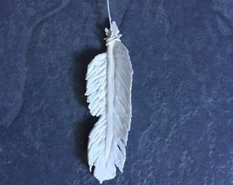 White Porcelain Feather Ornament, White Feather, White Porcelain Feather