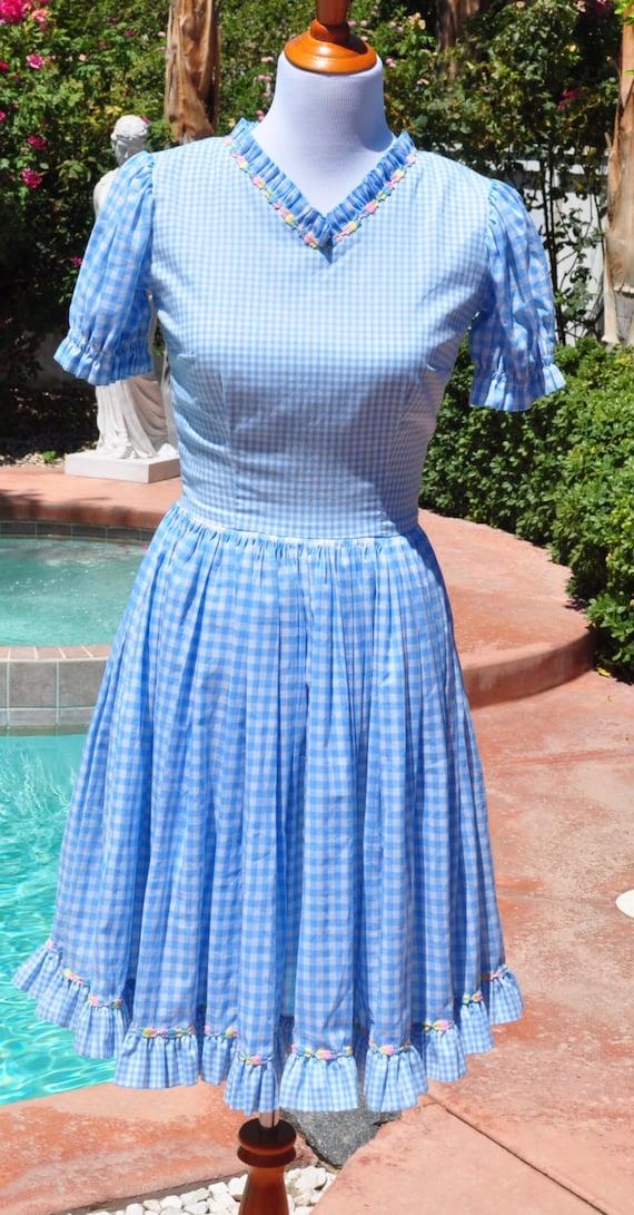 Vintage 1970s Blue Gingham Square Dance Swing Dress