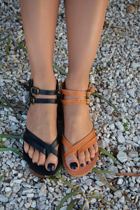 sandals Greek Strappy leather Ancient strap sandals sandals Black Greek sandals Handmade Ankle sandals sandals Women leather qtBgfYwC