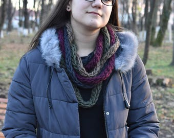 Scarf collar necklace from thin knit ribbons-autumn colors