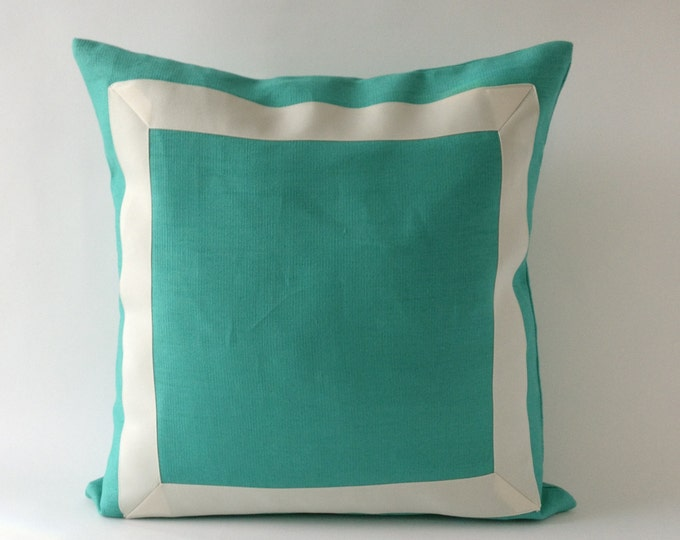 Decorative Throw Pillow Cover Mint Green Linen Pillow Cover with Off White Grosgrain Ribbon -20x20 to 26x26  Cushion Cover