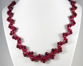Dark red gemstone and glass bead crochet necklace