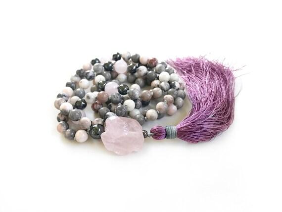 Rose Quartz Mala Beads, Mala Necklace for Balance & grounding, Pink Zebra Jasper Mala , Yoga Meditation Beads, 108 Bead Mala, Hand Knotted