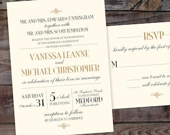 Printed Art Deco Wedding invitations, formal, gold wedding invites