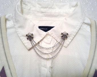 Skull Collar Pins Silver Skull Sweater Pins Boho Sweater Clips Silver Skull Collar Brooch Hipster Collar Pins Skull Collar Chain Lapel Pins