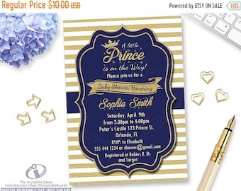 Prince invitation etsy on sale prince baby shower invitation royal blue and gold crown baby boy stopboris Gallery