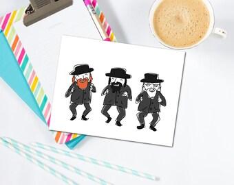 Three Rabbis Card - Jewish Card, Jewish Greeting Card, Hanukkah Card, Judacia, Jewish Gift, Rabbi, Judacia, Bar Mitzvah, Bat Mitzvah, Jewish