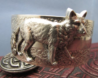 Fox bracelet foxes cuff bracelet animal jewelry Silver cuff Bracelet Vintage foxes jewelry also available in gold cuff