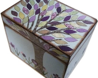 Recipe Box Decoupaged Purple-Green Tree Wedding Shower Box, Handcrafted  Storage, Organization Holds 4x6 Recipe Cards MADE TO ORDER