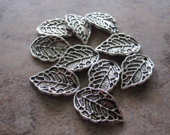 10 Antiqued Silver Pewter Leaf Charms - 16X10mm - JD77