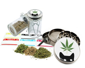 "Leaf Cat - 2.5"" Zinc Alloy Grinder & 75ml Locking Top Glass Jar Combo Gift Set Item # G50-8715-7"