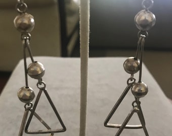 Vintage Sterling Triangle and Ball Dangling Earrings
