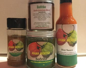 Sofrito,Adobo & hot sauce combo