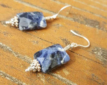 Aegean-Sterling and Sodalite Earrings