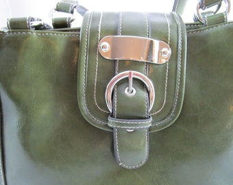 Olive Green Faux Leather Double Handled Handbag