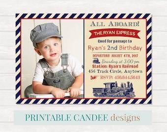 Train Birthday Invitation, Train Birthday, Train Invitation, Train Party, Vintage Train Invitation, Printable Train Invite