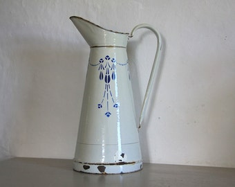 Antique  French Enamel Pitcher/ Jug White / Blue 1930's