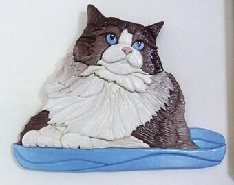 "Ragdoll Cat ""Blue"" Original Painted Intarsia 3 Dimensional Art"