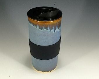 Handmade Blue Travel Mug With Lid - Blue and Bronze Travel Coffee Cup - Porcelain Travel Mug - Pottery Travel Mug - Ceramic Travel Mug