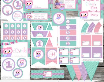 DIY Printable Party Package -Owl -Baby Shower -Banner -Favor Tags -Tent Cards -Cupcake Toppers -Look Whoo's One -Look Whoo's Having a Baby