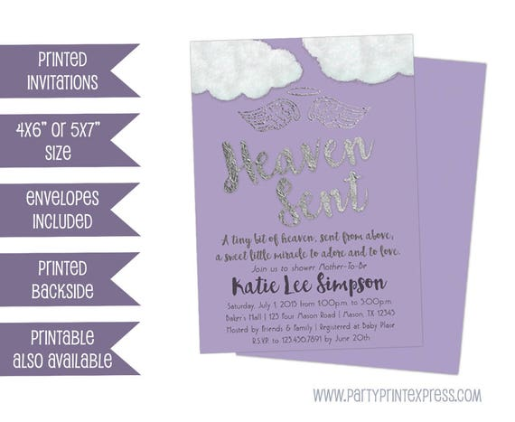 Purple heaven sent baby shower invitation angel baby shower purple heaven sent baby shower invitation angel baby shower invitations thank heavens little girls invites purple gold purple silver filmwisefo Choice Image