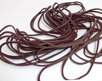 """Wire cord flat """"leatherette"""" Brown in 1 meter"""