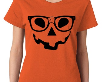 Nerdy Pumpkin Face Hipster Glasses Funny Adult Halloween October Costume Trick Or Treat Scary Creepy Womens T-Shirt SF-0402