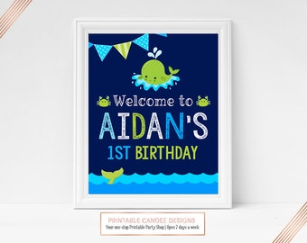 Whale Welcome Sign Little Squirt Party Sign Green Navy Under the Sea Party Decor Birthday Printable