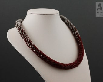 Bead Crochet Rope Necklace - Burgundy gradient - Casual necklace - Gift for her - Rope beaded necklace - Choker - Available