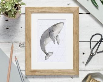 Whale art print - watercolour print - small print - humpback whale print - print for nursery - whale gift - whale illustration