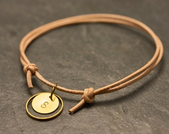 Nude circle initials engraved bracelet - leather