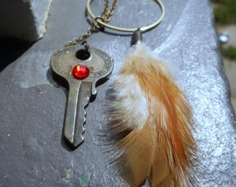 The Awakening. Vintage crystal jeweled lion brass key, brass hoop & rustic feather lariat necklace
