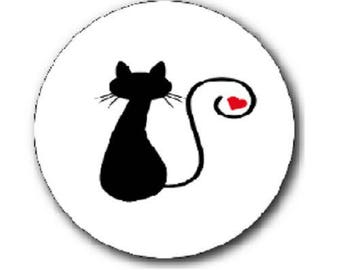 cabochon 18mm, cat and heart