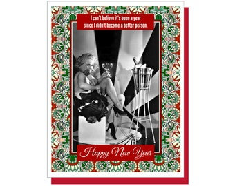 A Better Person - Funny New Year's Card, Funny Holiday Card, Snarky Cards