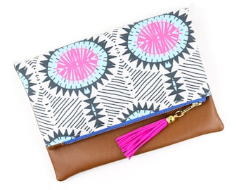 Boho Tassel Clutch in Tribal Floral Print and Tan Vegan Leather and Gold zipper close