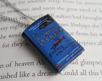 The Curious Incident of the Dog in the Night-Time Handmade Mini Book Necklace / Clay Miniature Books Jewelry -Book Lover Gifts (SKU: FN2-24)