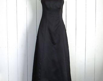 90s Strapless Dress Black Rhinestone Trim Vintage Prom Party Evening Gown Jump Apparel Wendye Chaitin Size 3/4 Small S