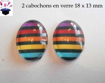 2 cabochons glass 18mm x 13mm theme stripe