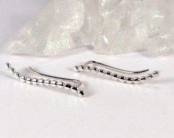 Pair of Wave Beaded Silver Ear Climber Earrings, Sterling Silver, Made to Order