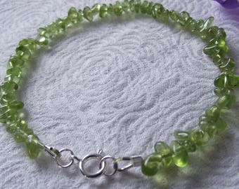 Peridot Bracelet in Nuggets, August Birthstone with Sterling Silver