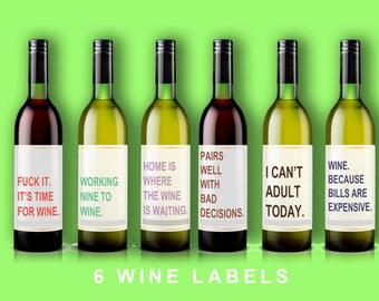 wine labels,funny labels,funny wine label,wine bottle,funny wine, wine glass,wine  6 pack,wine label,girl wine label,adulting wine label