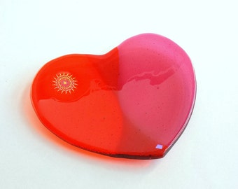 New! for Valentines Day - Pink and Orange Fused Glass Heart Dish -  Heart Shaped Glass Trinket Dish - Candle Dish - Soap Dish - Candy Dish