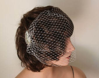 Off-White Full-Face Bandeau Birdcage Veil with Gold and Rhinestone Feather Embellishment